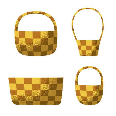 Wicker basket vector illustrations with a grainy texture 3D effect Vektorgrafik