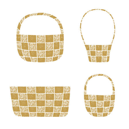 Wicker basket vector illustrations with a grainy texture