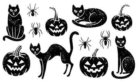 Halloween set of black cats, carved pumpkins, and spiders
