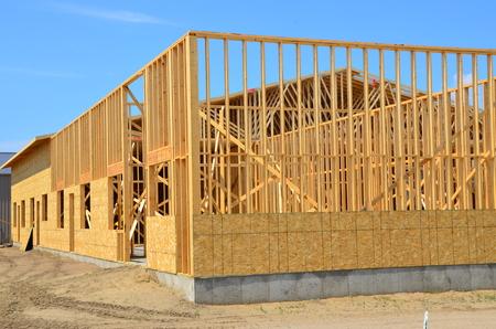 Wood frame commercial building under construction.