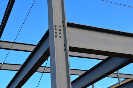 Steel framework of new commercial building.