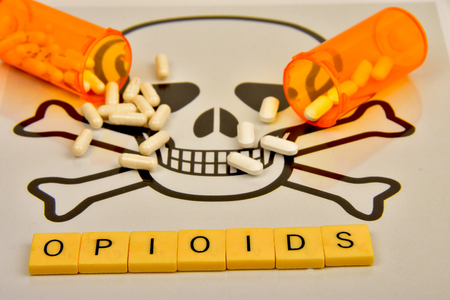 Symbols of opioid abuse. 写真素材