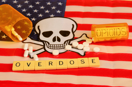 Signd and symbols of opioid crisis in America.