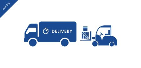 loading truck: Delivery icon. Loading truck icon. Forklift with boxes loading a truck icon.