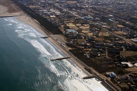 Shore line in Ibaragi pref  Japan, aerial photograph