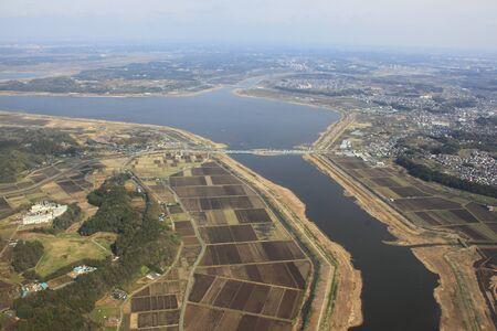 Inba-numa, chiba japan, aerial view