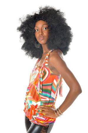 Woman in retro Afro hairstyle