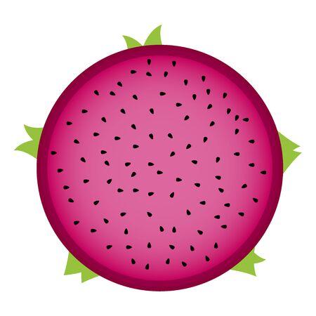 dragon fruit gesneden in de helft Vector Illustratie
