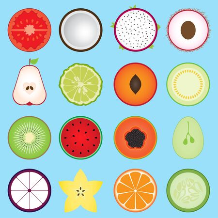 sliced fruit: Set fruit sliced in half