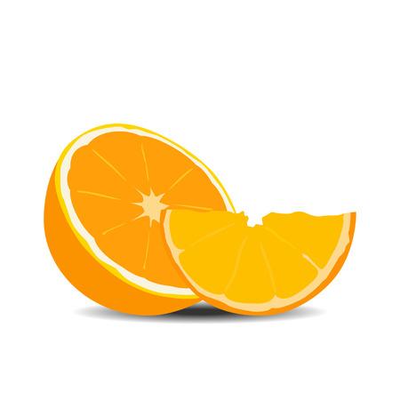 Die Hälfte orange Frucht auf weißem Hintergrund