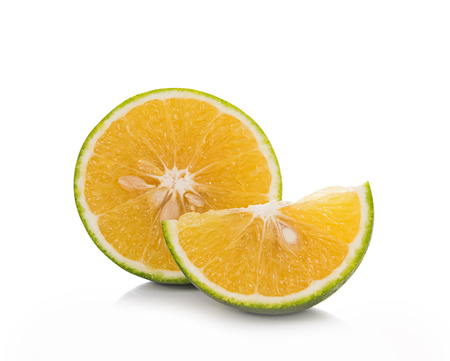 sweet segments: Tangerine on white background Stock Photo