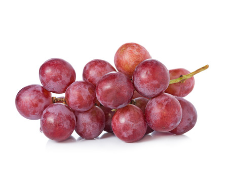 grape fruit: Ripe red grape on white background