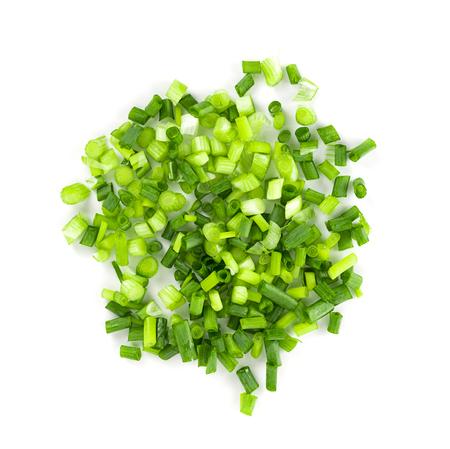 onion: Cebolla verde sobre fondo blanco Foto de archivo
