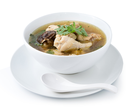 broth: Traditional chicken broth on white background