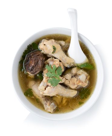 Traditional chicken broth on white background. top view Stockfoto
