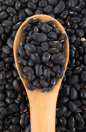 eyeing: Black eyed peas beans in the wood background Stock Photo