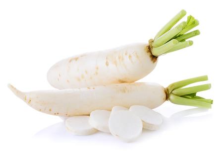 White radishes isolated on white background 스톡 콘텐츠