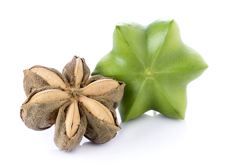 Sacha Inchi on white background, fresh capsule seeds fruit of sacha-Inchi peanut