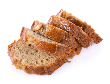 Almond banana bread on white background