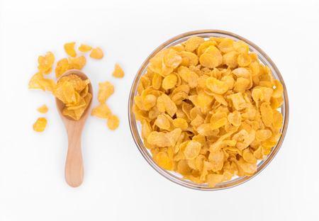 Corn flakes isolated on white background Stock Photo