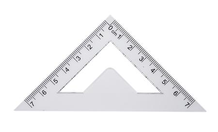 플라스틱 눈금자, 각도기 삼각형 흰색 배경에 고립 된