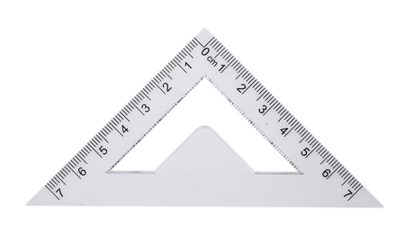 Plastic ruler, protractor triangle isolated on white background