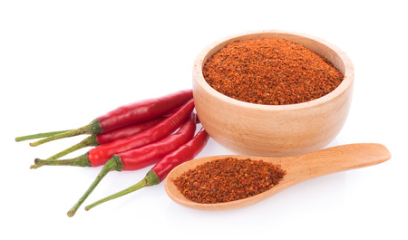 Pile of red paprika powder isolated on white background 스톡 콘텐츠