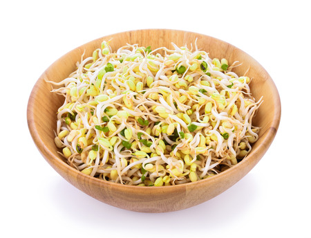bean sprouts in wooden bowl on white background