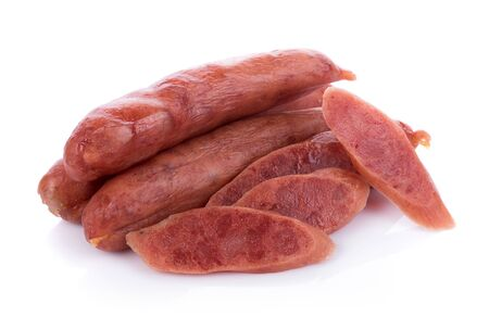 Chinese sausage on white background