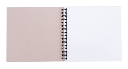 blank realistic spiral notebook and pencil isolated on white background