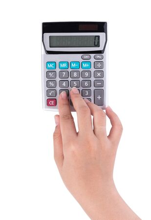 hands with calculator isolated on white background Фото со стока