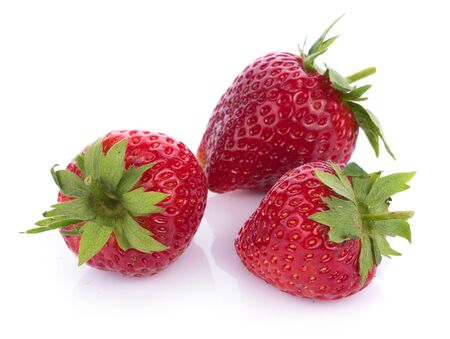closeup strawberry isolated on white background 版權商用圖片