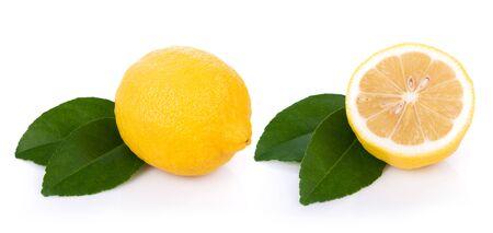 Fresh lemon isolated on white background Banco de Imagens