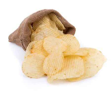 potato chips in jute isolated on white background