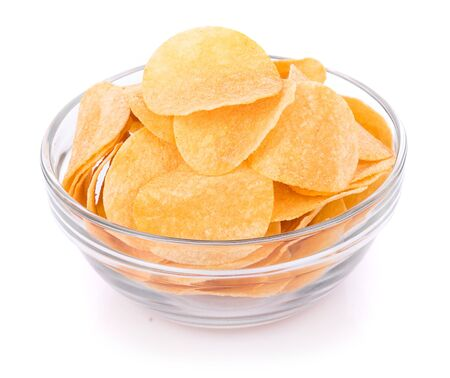 potato chips in bowl isolated on white background Banco de Imagens