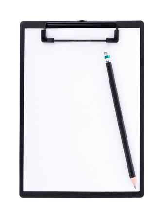 Blank paper on black clipboard with space on white background Banco de Imagens