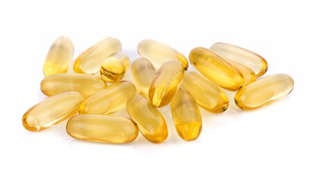 Fish oil pill on white background