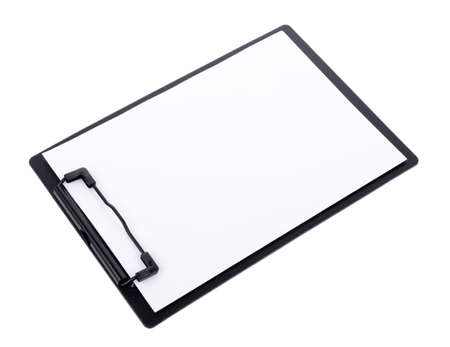 Blank paper on black clipboard with space on white background 版權商用圖片