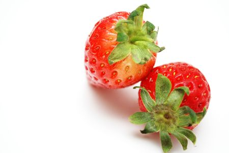 fragaria: Two fresh strawberries