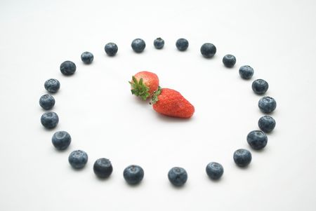 Time shot strawberry and blueberry photo