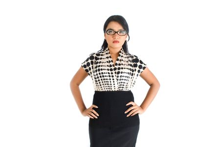 Female asian business woman frustrated pose photo