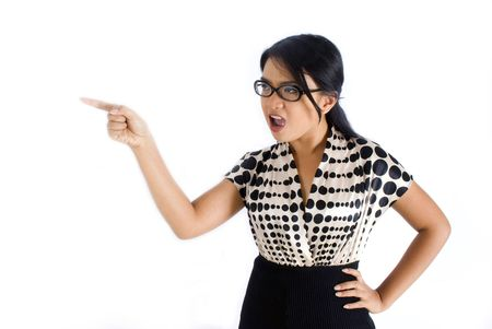 wicked woman: Female asian business woman pointing frustrated Stock Photo