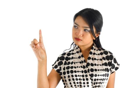 Female asian business woman pressing button photo