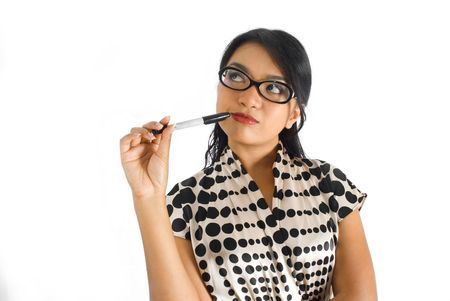 figuring: Asian business woman thinking with pen on cheek Stock Photo