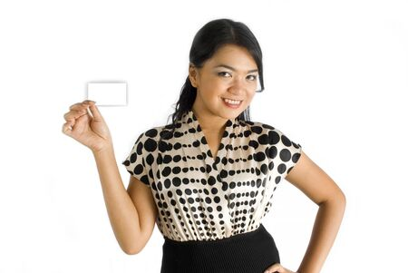 Asian female corporate woman holding blank white name card photo