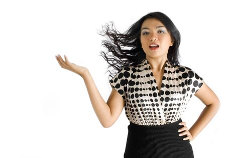 Female asian business woman swinging hair back - seductive Stock Photo - 4733554