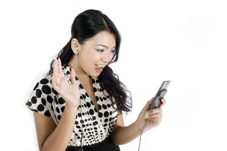 phoning: Female asian business woman waving to phone