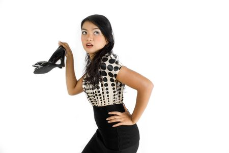 Female asian business woman escaping work photo