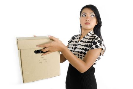 Female asian business woman carrying a box unhappy Stock Photo - 4733442
