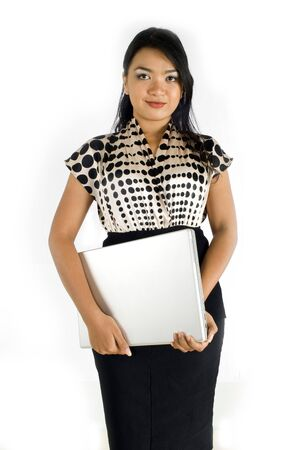 Female asian business woman confident with laptop Stock Photo - 4733137